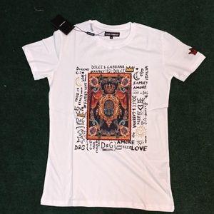 Dolce Gabbana White Printed T-shirt , NWT %100